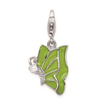 SS RH Green Enameled & CZ Butterfly w/Lobster Clasp Charm