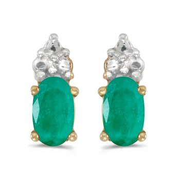 14k Yellow Gold Oval Emerald Earrings