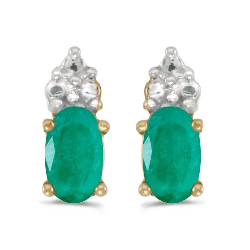 Color Merchants 14k Yellow Gold Oval Emerald Earrings