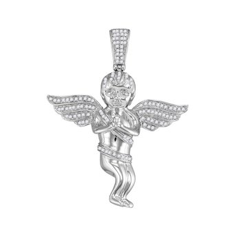 10kt White Gold Mens Round Diamond Praying Angel Cherub Charm Pendant 1/2 Cttw