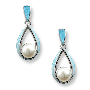 Sterling Silver Cradle Earrings-Blue,Pearl