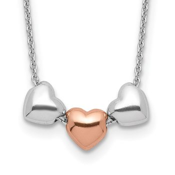Sterling Silver Rhodium Rose-tone 3-Hearts w/.75 ext Necklace