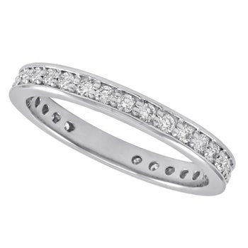 White Gold Millgrain Band