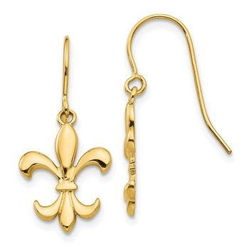 14k Polished Fleur de lis Dangle Earrings