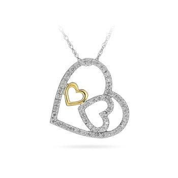 10K YG and SS Diamond Three Heart Pendant