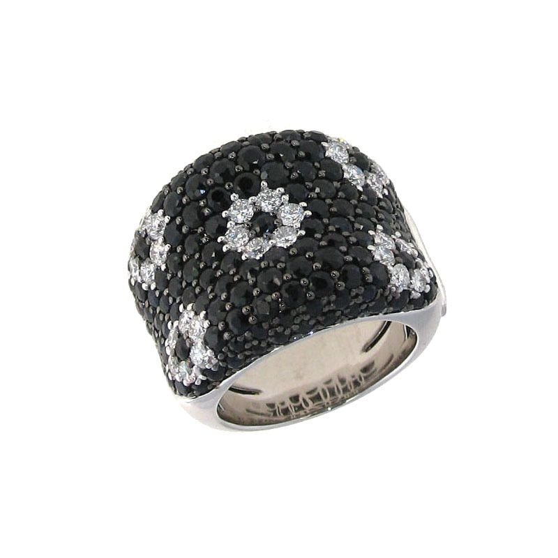 Roberto Coin 18Kt Gold Flower Ring With Black White Diamonds And Black Sapphires