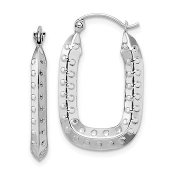 10k White Gold Polished Textured Rectangle Hoop Earrings