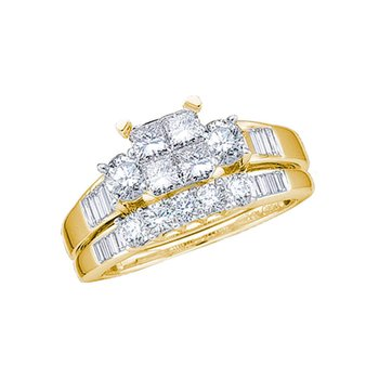 10kt Yellow Gold Womens Princess Diamond Bridal Wedding Engagement Ring Band Set 1.00 Cttw - Size 10