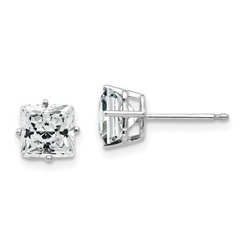 14k White Gold 6mm Princess Cut Cubic Zirconia Earrings