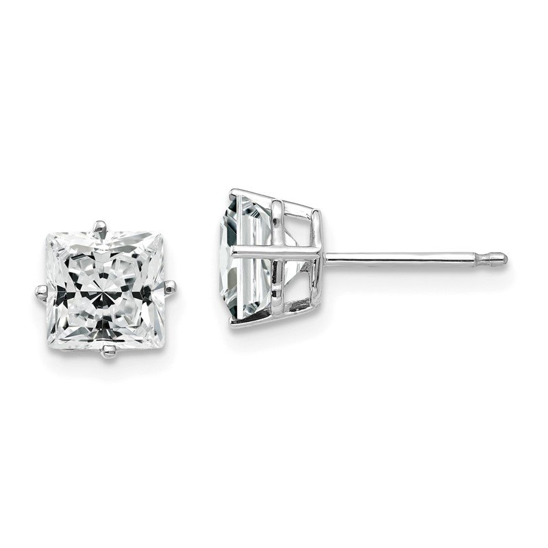 Quality Gold 14k White Gold 6mm Princess Cut Cubic Zirconia Earrings