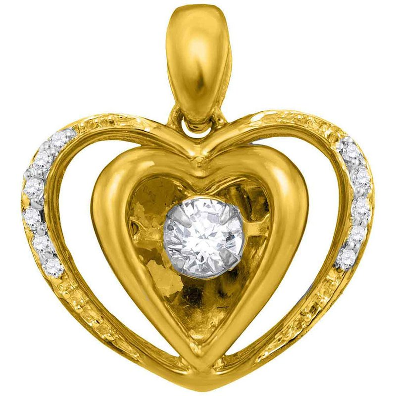 Kingdom Treasures 10kt Yellow Gold Womens Round Moving Twinkle Diamond Heart Pendant 1/6 Cttw