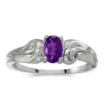 14k White Gold Oval Amethyst Ring