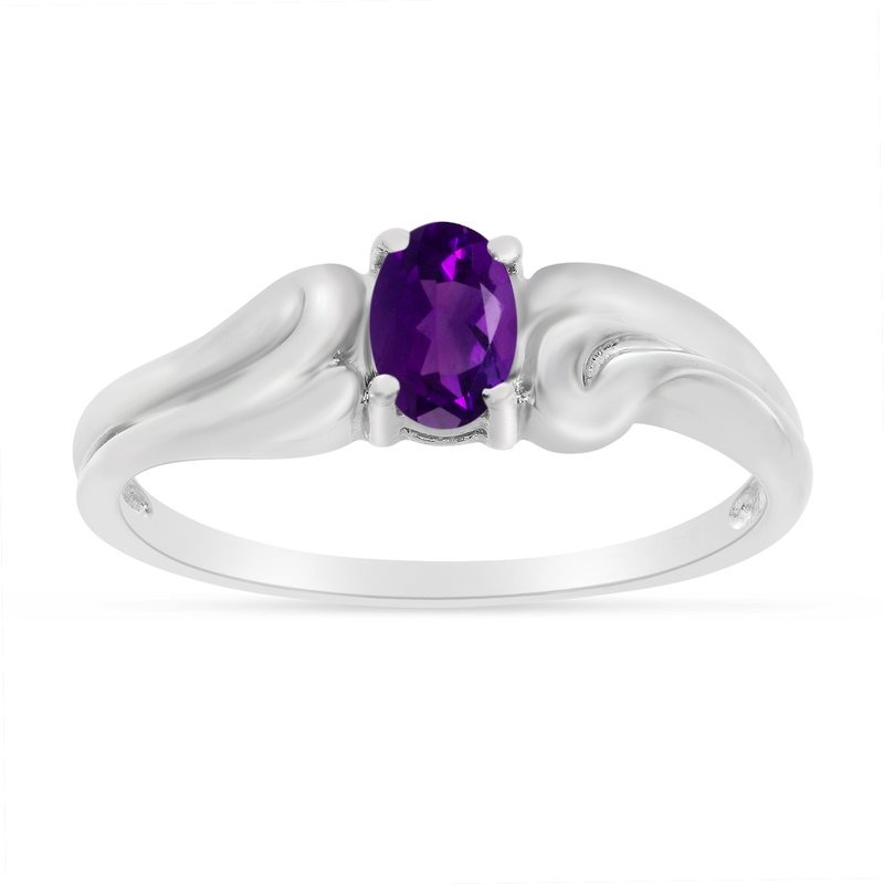 Color Merchants 14k White Gold Oval Amethyst Ring