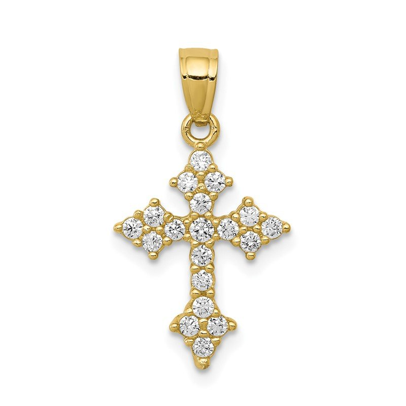 Quality Gold 10k CZ Passion Cross Pendant
