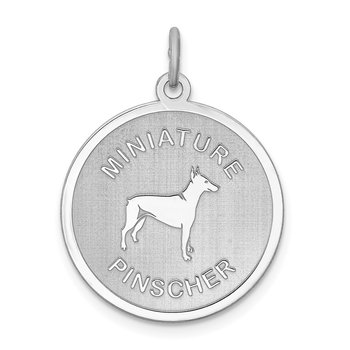 Sterling Silver Rhodium-plated Miniature Pinscher Disc Charm