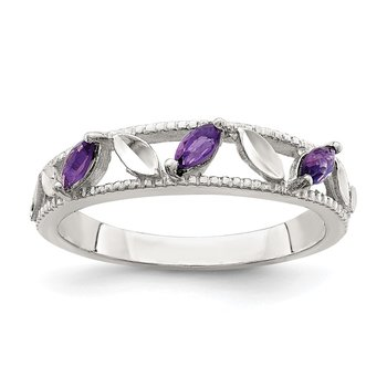 Sterling Silver Amethyst Diamond-cut Leaves Ring