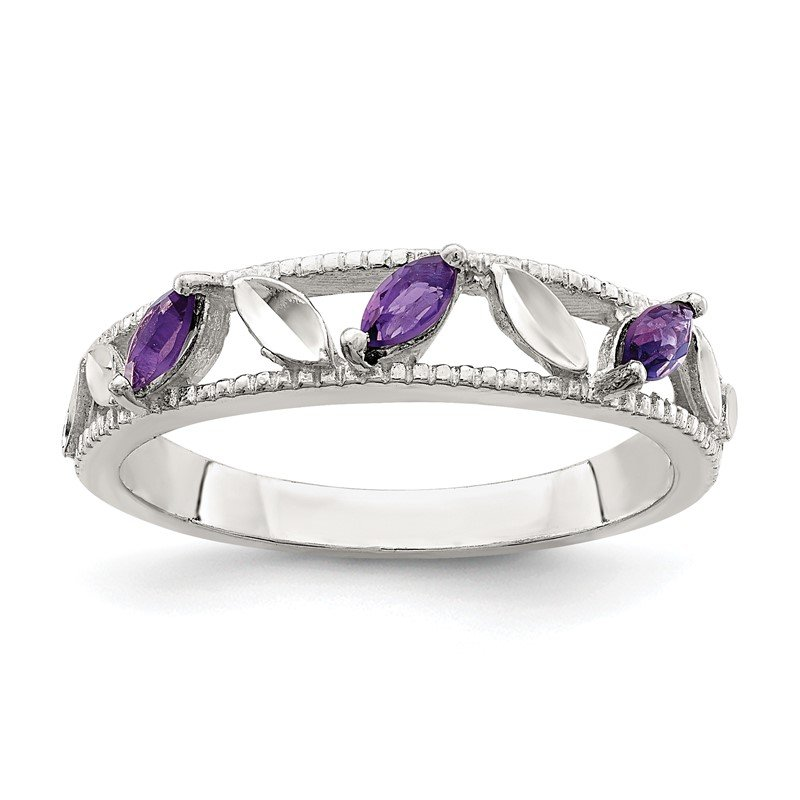 Quality Gold Sterling Silver Amethyst Diamond-cut Leaves Ring