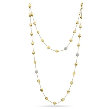 Siviglia Gold & Diamond Pave Large Bead Long Necklace