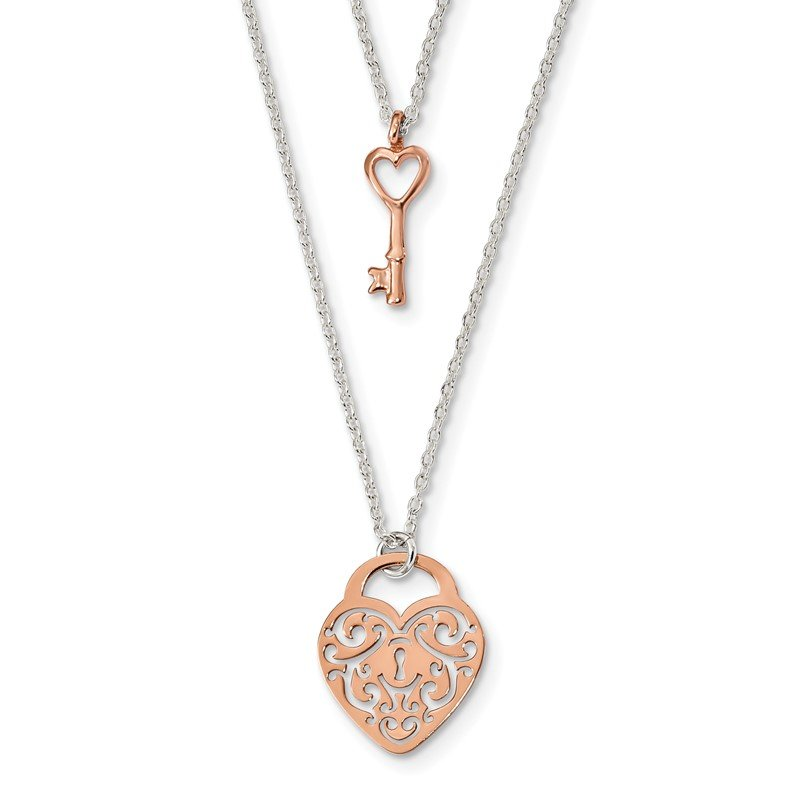 Quality Gold Sterling Silver and Rose-tone Heart Lock and Key 2-strand Necklace