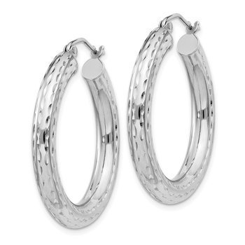 Sterling Silver Rhodium-plated 4.00mm Diamond Cut Hoop Earrings
