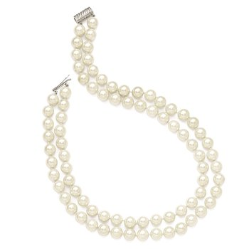 Sterling S Majestik Rh-pl 2 Row 10-11mm Wht Imitat Shell Pearl Necklace