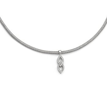 Leslie's Sterling Silver CZ w/2in ext. Necklace