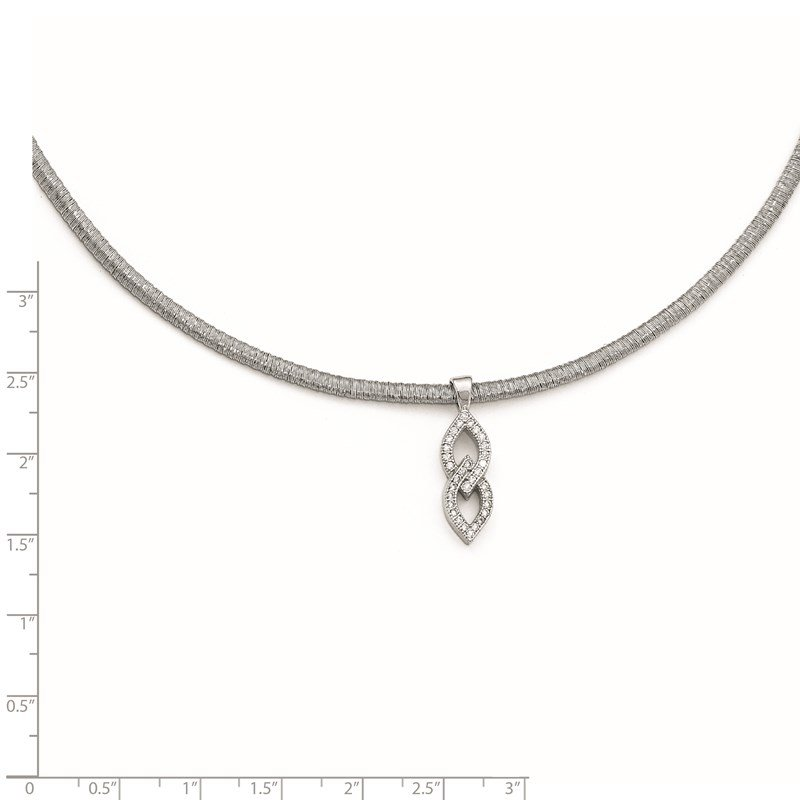 Leslie's Leslie's Sterling Silver CZ w/2in ext. Necklace