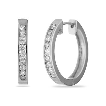 14K WG Hoops Earring Channel Set 0.50 cts Dia Safe Cla