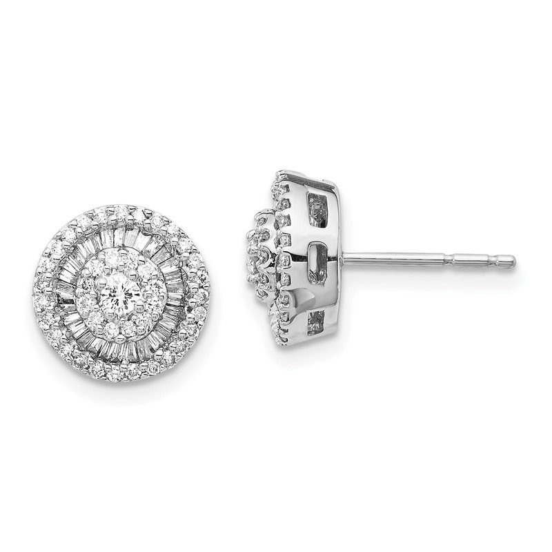 Quality Gold 14k White Gold Diamond Cluster Post Earrings