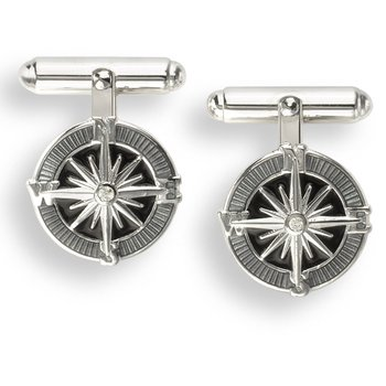 Gray Compass Rose T-Bar Cufflinks.Sterling Silver-White Sapphires