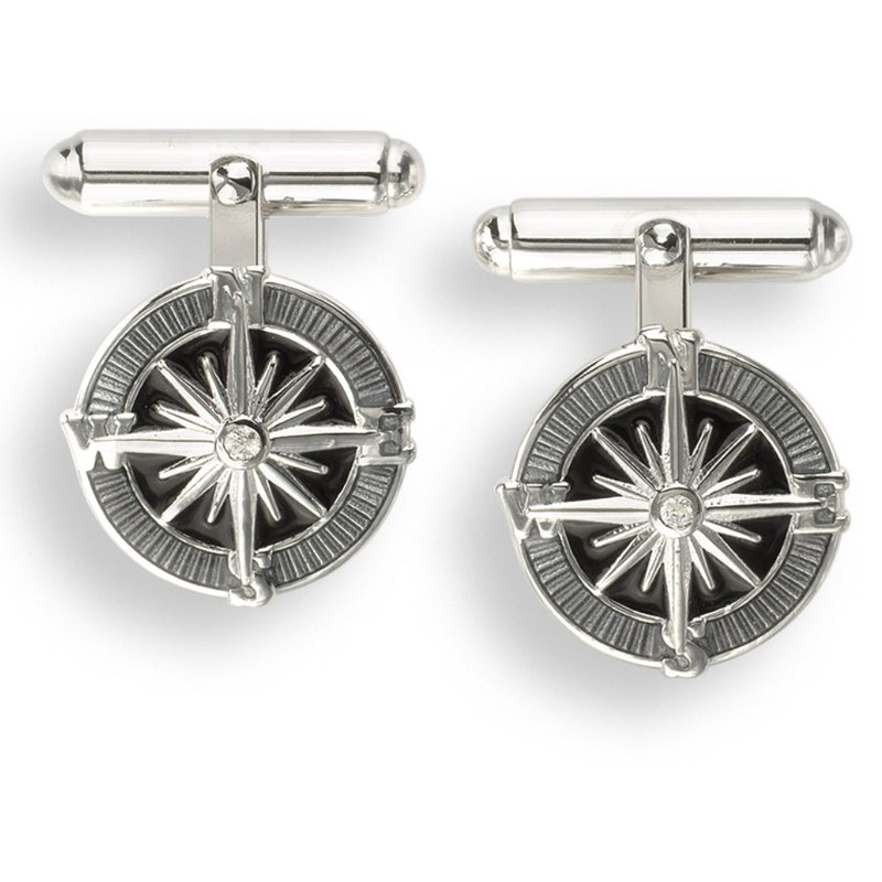 Nicole Barr Designs Gray Compass Rose T-Bar Cufflinks.Sterling Silver-White Sapphires