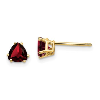 14k 5mm Trillion Garnet Earrings