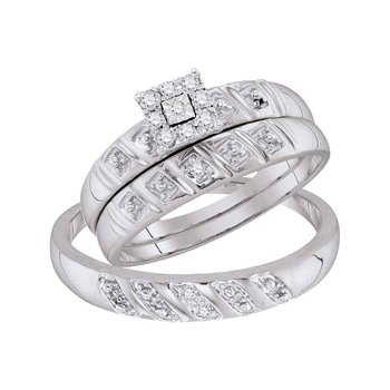 Sterling Silver His & Hers Round Diamond Cluster Matching Bridal Wedding Ring Band Set 1/10 Cttw