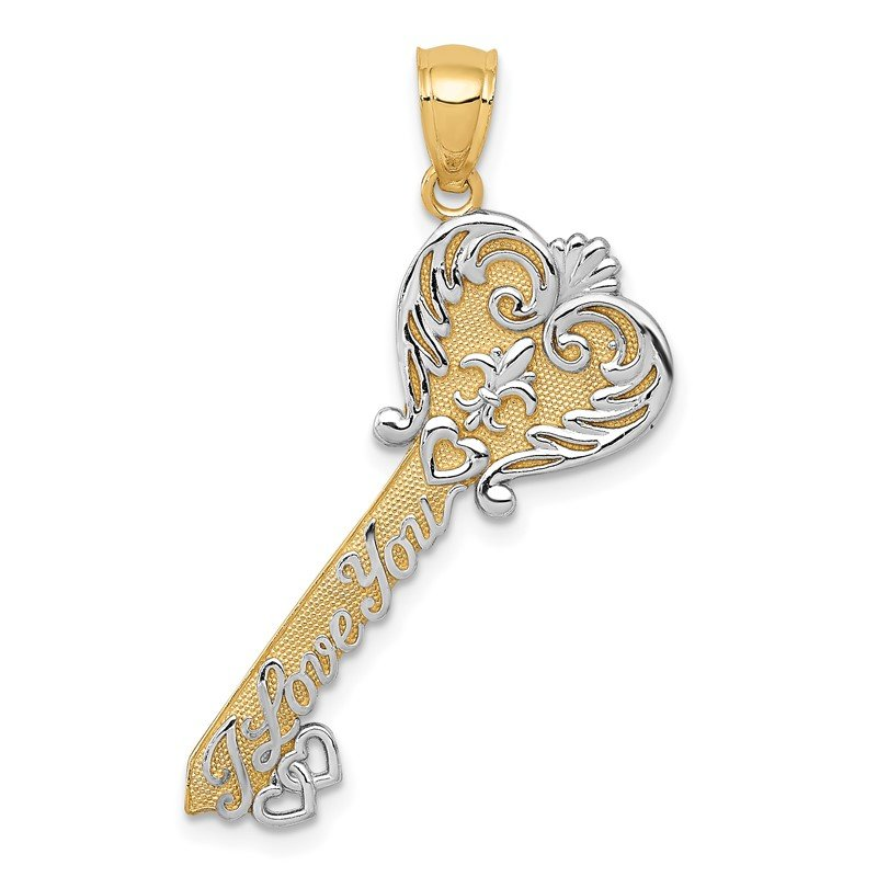 JC Sipe Essentials 14K w/White Rhodium Polished I LOVE YOU Filigree Heart Key Charm
