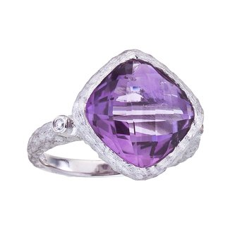 14k White Gold Cushiom Cut Amethyst and Diamond Ring
