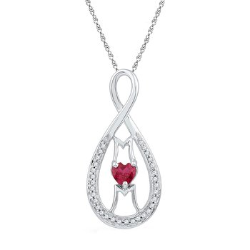 Sterling Silver Womens Heart Lab-Created Ruby Mom Mother Pendant 1/2 Cttw