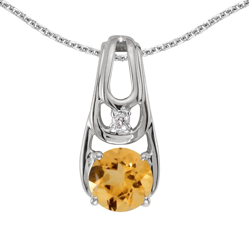 10k White Gold Round Citrine And Diamond Pendant