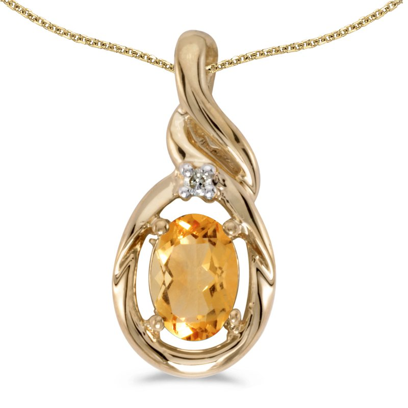 Color Merchants 10k Yellow Gold Oval Citrine And Diamond Pendant
