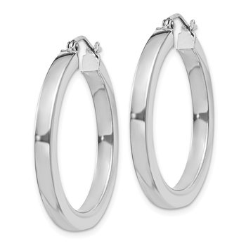 Sterling Silver Rhodium-plated 3x30mm Square Tube Hoop Earrings