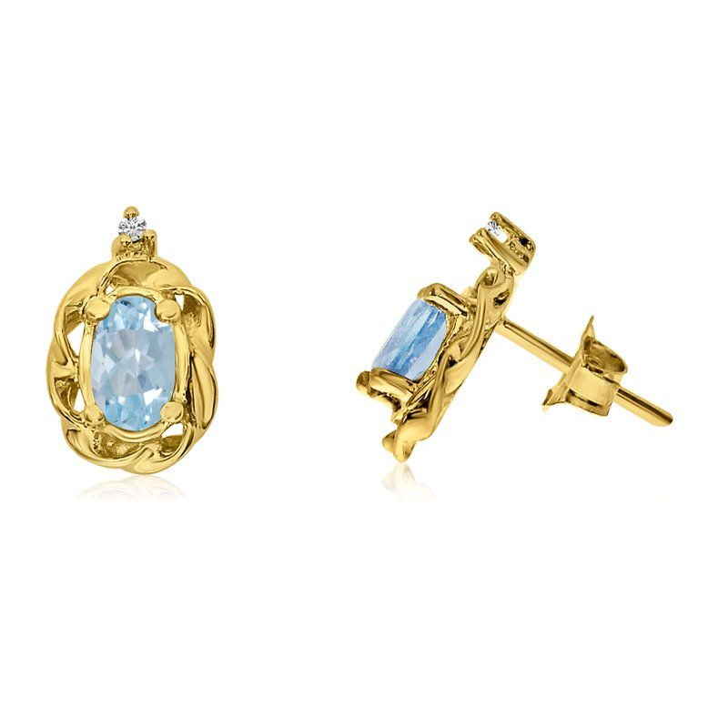 Color Merchants 14k Yellow Gold Aquamarine Scroll Diamond Earrings