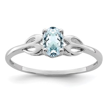 Sterling Silver Rhodium-plated Aquamarine Ring