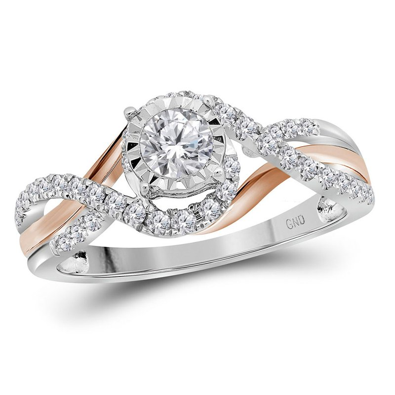 Gold-N-Diamonds, Inc. (Atlanta) 14kt White Gold Womens Round Diamond Solitaire Bridal Wedding Engagement Ring 1/2 Cttw