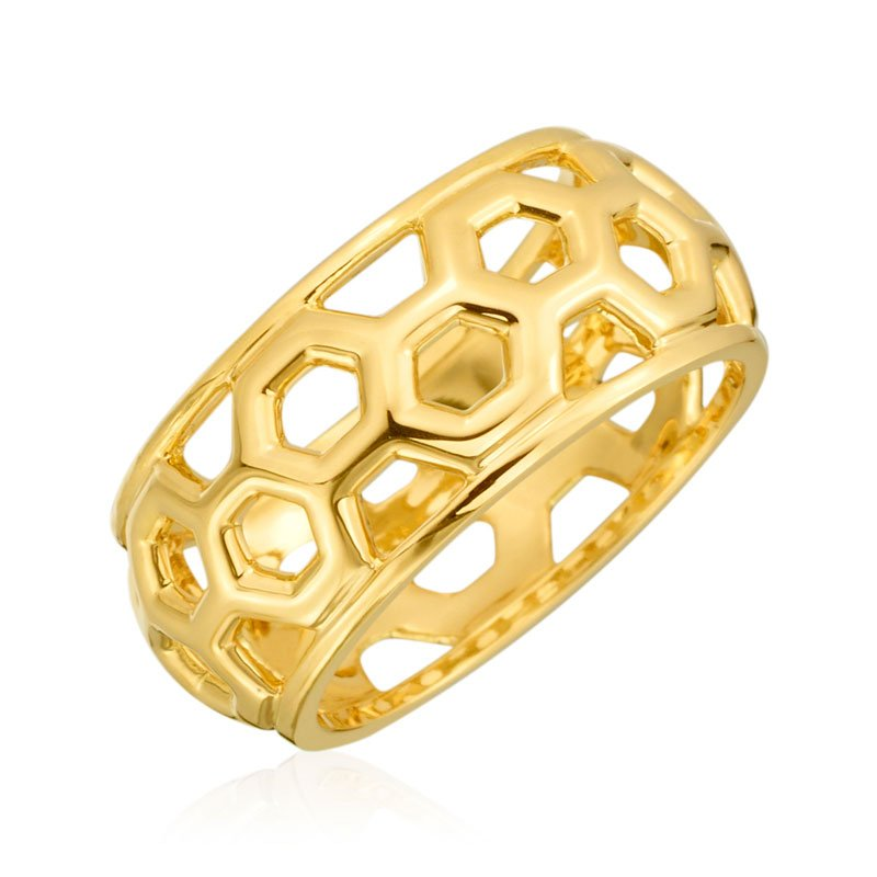 "Gumuchian Honeybee ""B"" Honeycomb Small Dome Ring R903G"