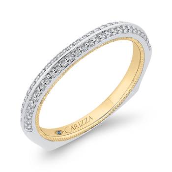 Round Diamond Half-Eternity Wedding Band In 14K Two-Tone Gold with Euro Shank
