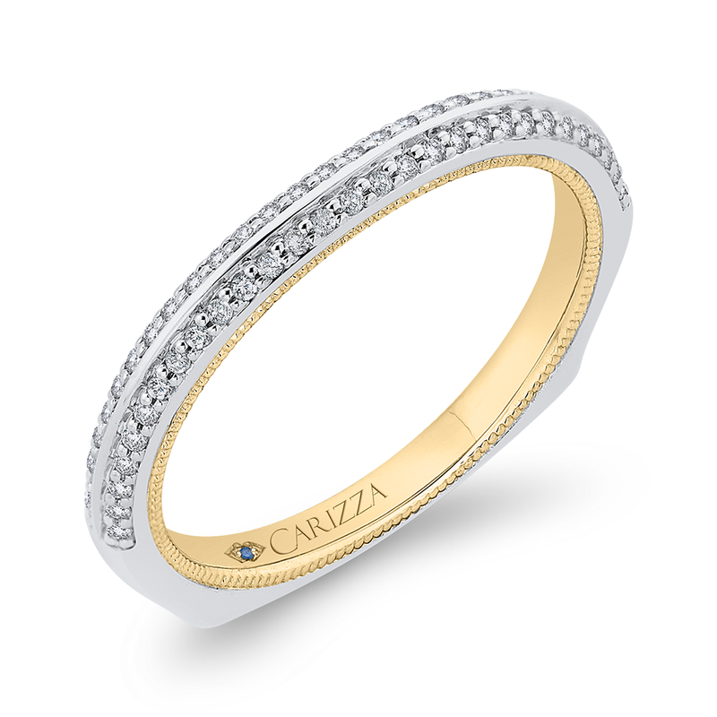 Carizza Round Diamond Half-Eternity Wedding Band In 14K Two-Tone Gold with Euro Shank
