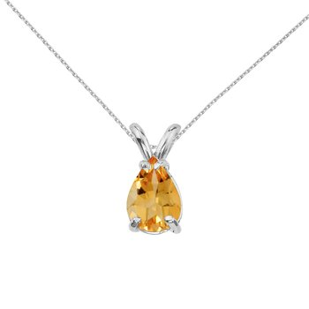 14k Yellow Gold Pear Shaped Citrine Pendant