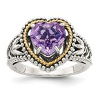 Quality Gold Sterling Silver w/14k Antiqued Amethyst Heart Ring