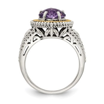 Sterling Silver w/14k Antiqued Amethyst Heart Ring