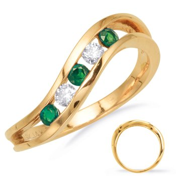 Emerald  & Diamond Channel Set Band