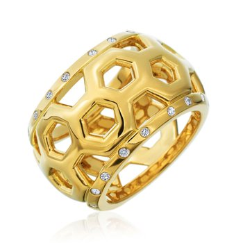 "Honeybee ""B"" Honeycomb Border Ring R880G"
